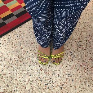 Zara flourescent green sandals